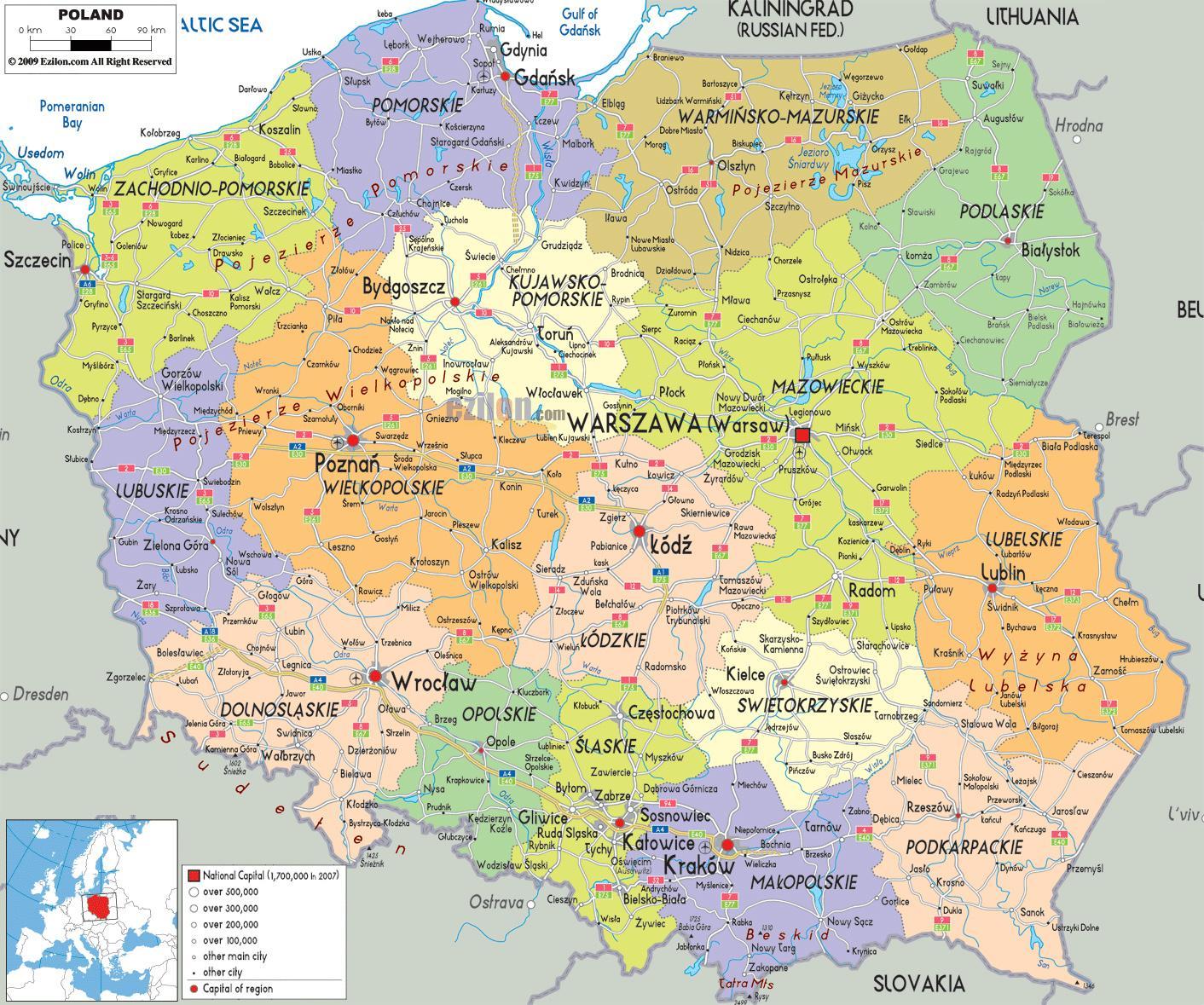 kart over polen Kart over Polen med byer   Kart over Polen med byer (Øst Europa  kart over polen