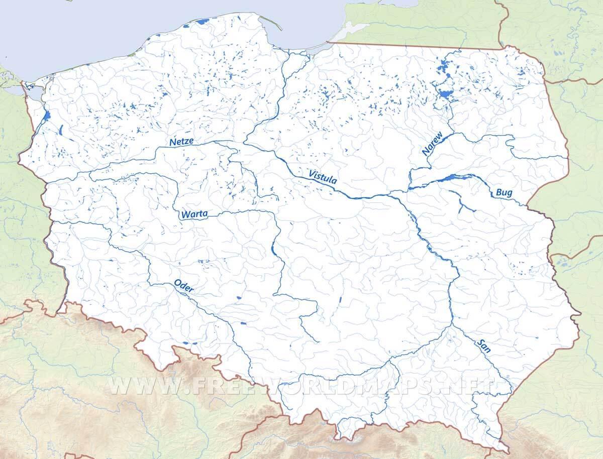 kart polen Polen elver kart   Kart over Polen elver (Øst Europa   Europa)
