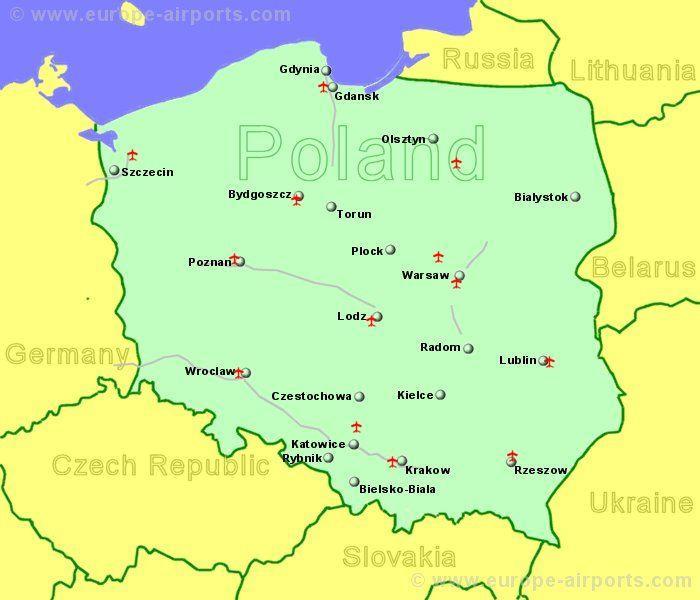 kart over flyplasser i polen Polen flyplasser kart   Kart over Polen viser flyplasser (Øst  kart over flyplasser i polen