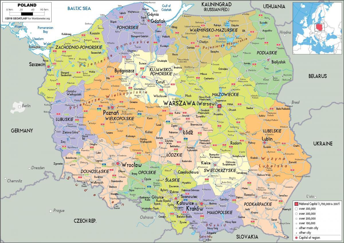 kart av europa Kart over Polen og de omkringliggende landene, Polen og  kart av europa