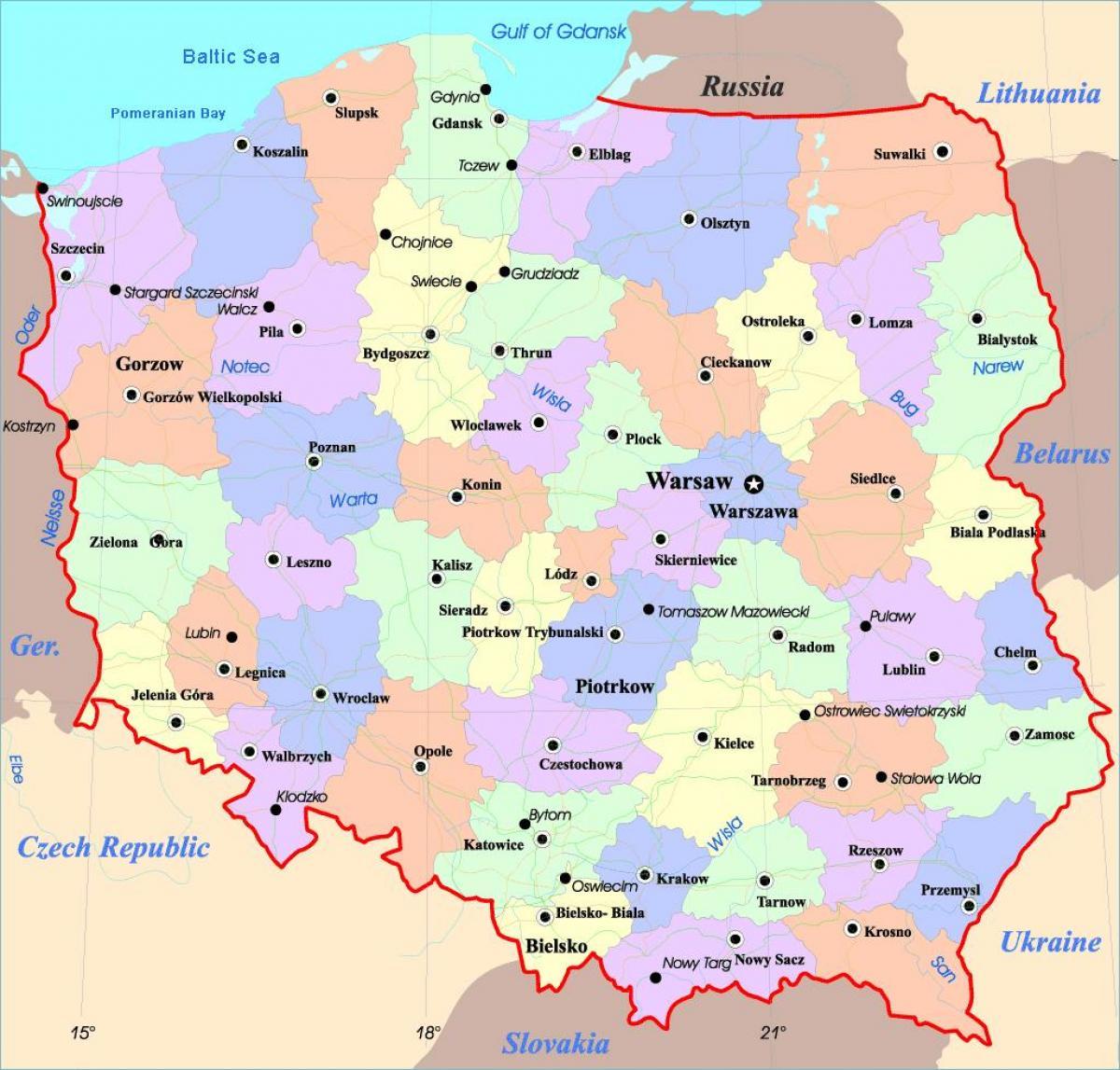 kart polen Polen byer kart   Kart over Polen byer (Øst Europa   Europa)
