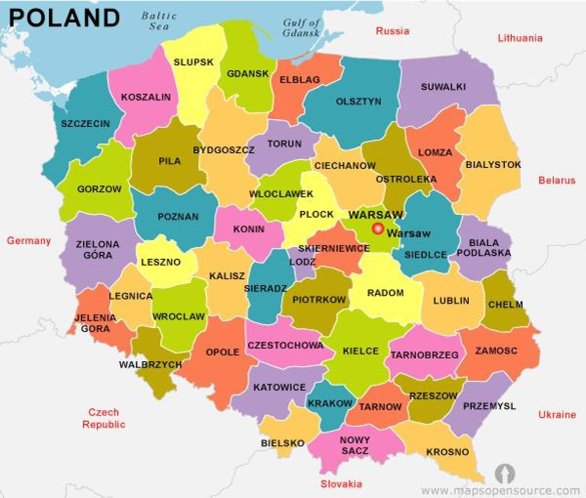 kart over gdansk polen Polen landet kart   Kart over Polen land (Øst Europa   Europa) kart over gdansk polen