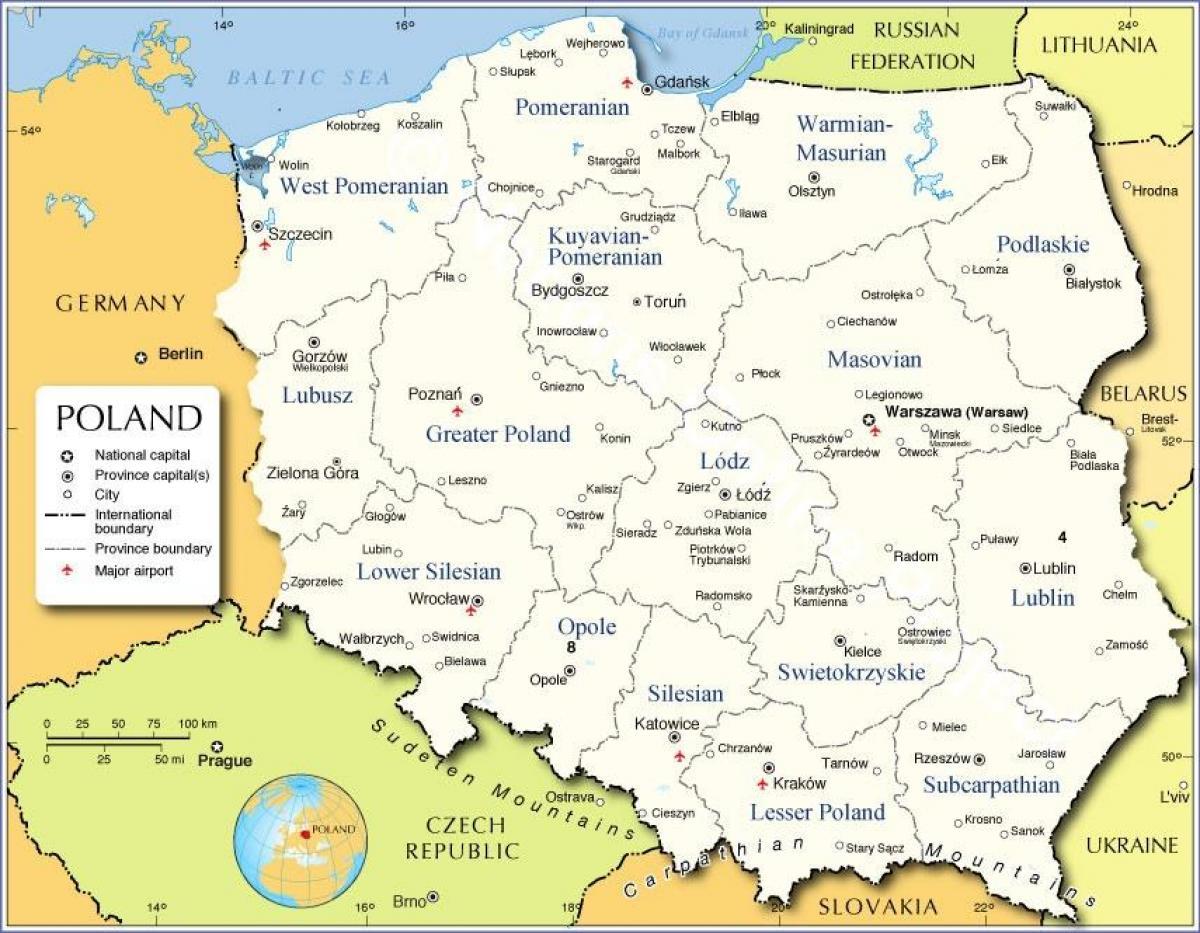 kart over gdansk polen Polen regioner kart   Kart over Polen regioner (Øst Europa   Europa) kart over gdansk polen